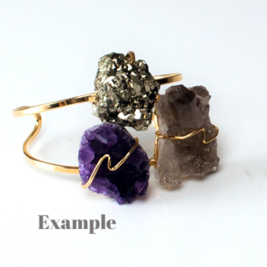 Raw Stone Cuff Bracelet- Pyrite, Amethyst Druze + Smokey Quartz Cluster