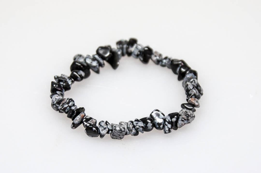 SnowFlake Obsidian Chip Bracelet