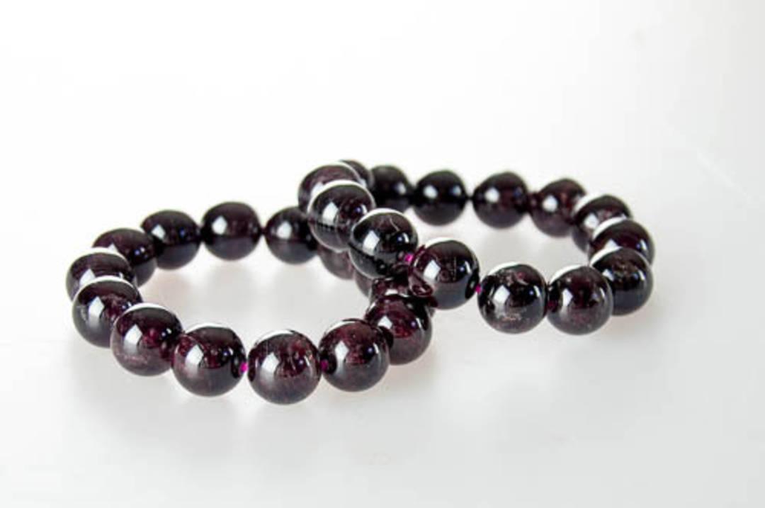 Garnet Round Bead Bracelet 15mm