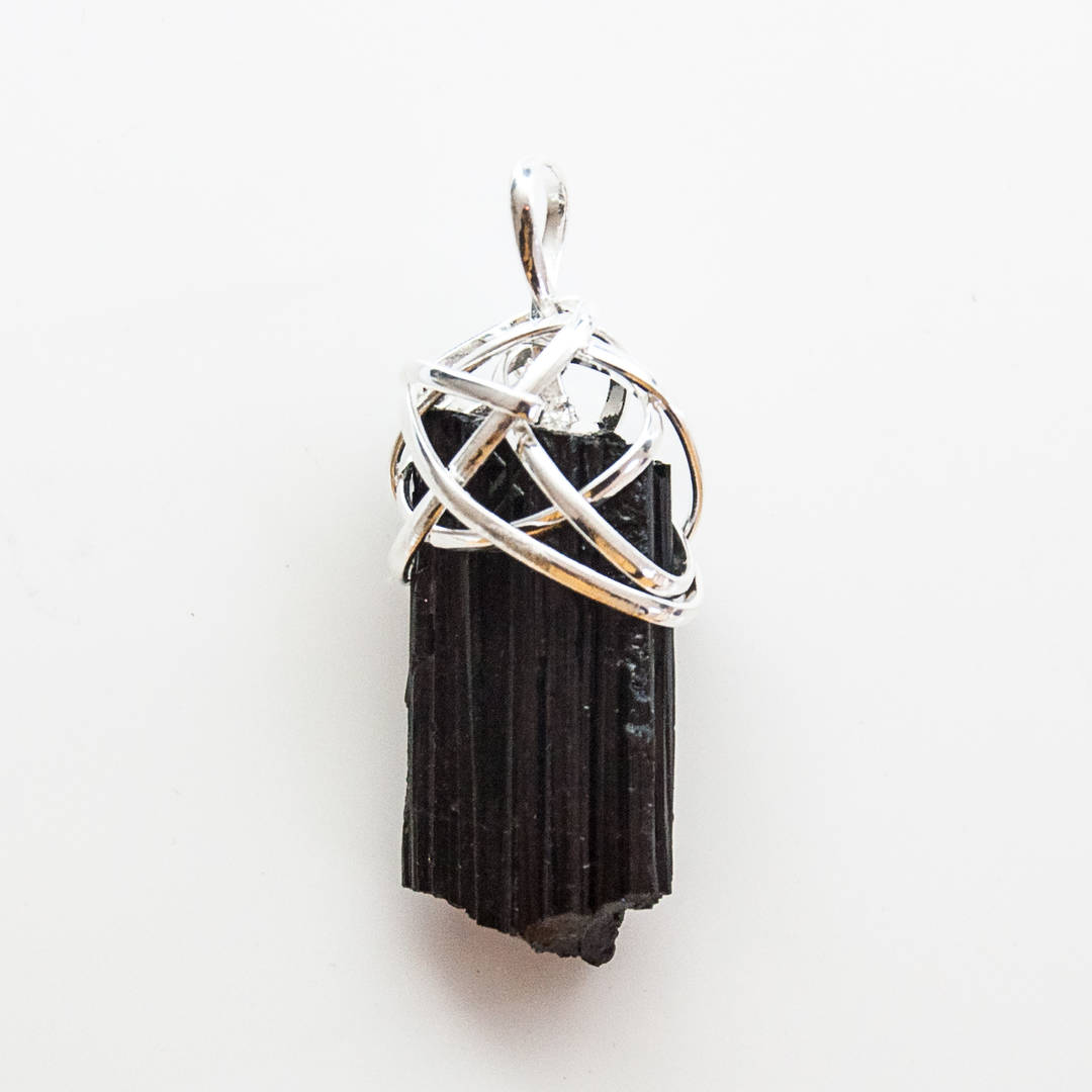 Rough Black Tourmaline Wire Wrap Pendant