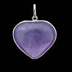 Amethyst Heart Silver Pendant
