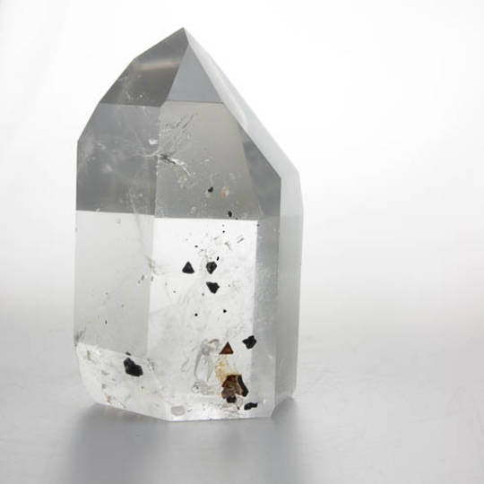 Clear Quartz with Columbite Inclusions Polished Point