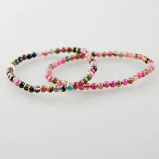 Pink & Green Tourmaline Round Bead Bracelet