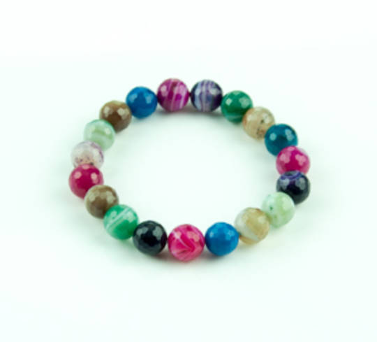 Agate Dyed Faceted Round Bead Bracelet