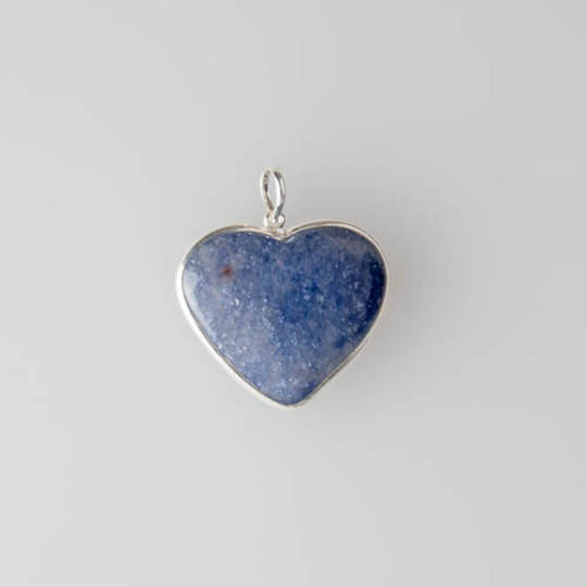 Silver Blue Aventurine Heart Pendant