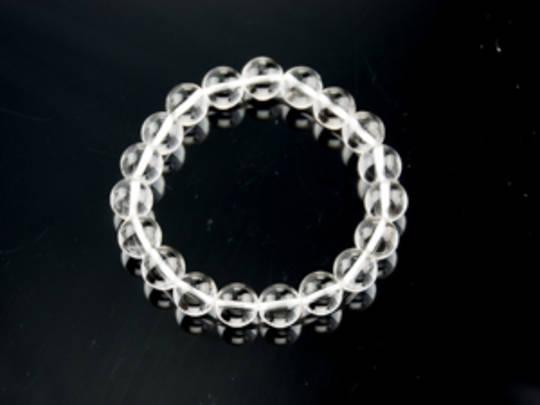 Clear Quartz Round Bead Bracelet