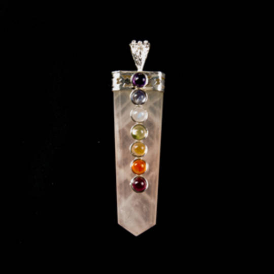 Rose Quartz  Point Pendant with Mixed Stones