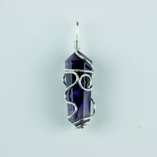 Amethyst  Double Point Wire Pendant