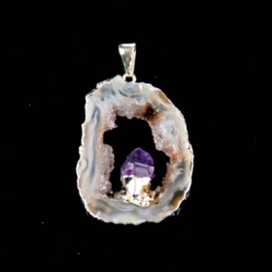Agate Slice With Amethyst Point Pendant