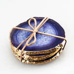 Agate Slice Coaster Set with Gold Edging