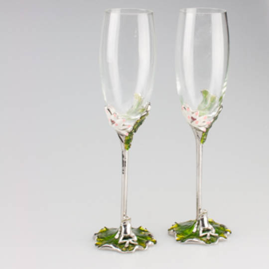 Champagne Flute- Lotus flower and frog detail
