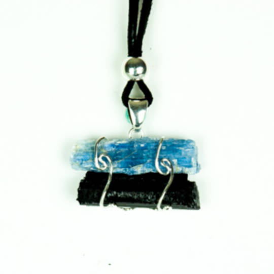 Rough Kyanite And Black Tourmaline Pendant