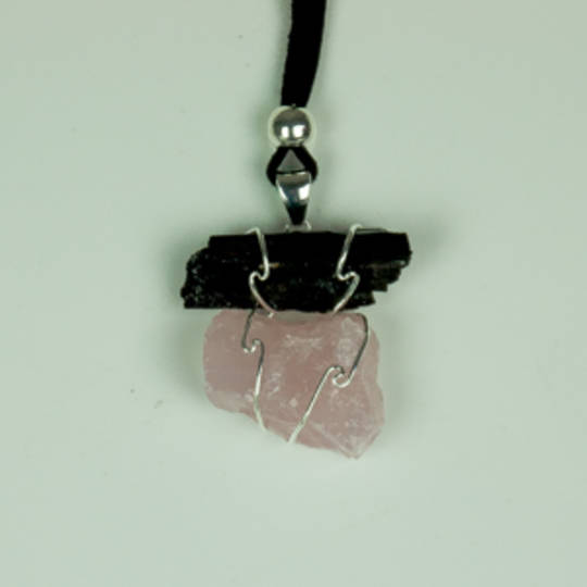 Rough Black Tourmaline And Rose Quartz Pendant