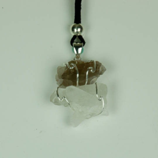 Smokey Quartz And Clear Quartz Cluster Pendant