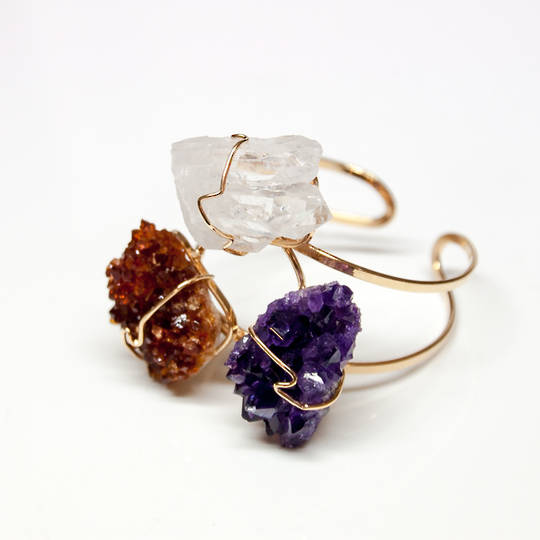 Beautiful handcrafted Raw Stone Cuff Bracelet with Clear Quartz, Amethyst Druze + Citrine Druze.
