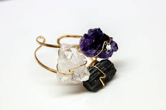 Cuff Bracelet with Clear Qz Cluster, Amethyst Druze +Black Tourmaline.