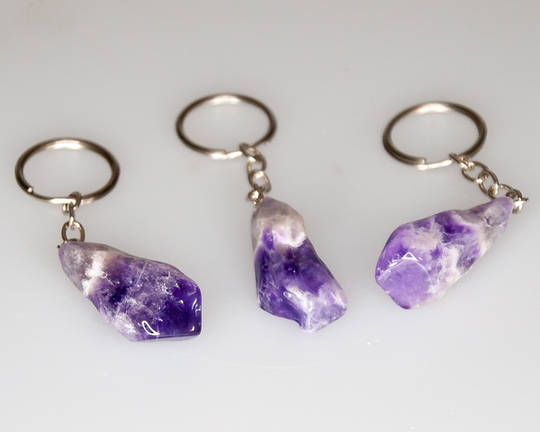 Chevron Amethyst Key Chain