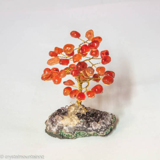 Carnelian Tree with Amethyst Base