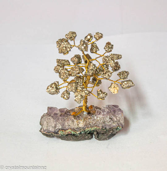 Pyrite Tree with Amethyst Base