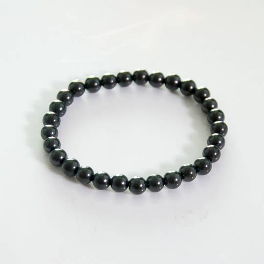 Shungite round bead bracelet.