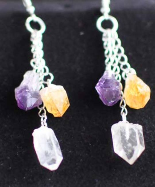 Earrings 3 stone chain