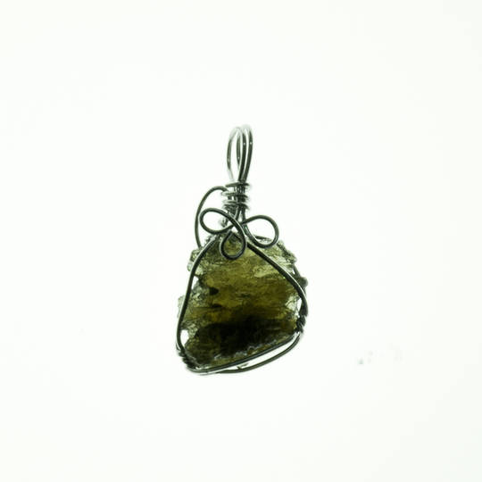 Moldavite Rough Silver Wire Pendant