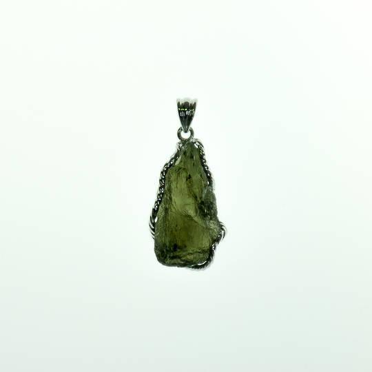 Moldavite Rough Silver Pendant
