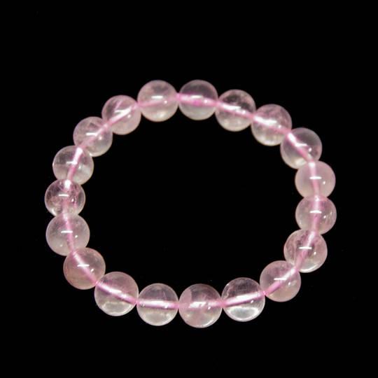 Rose Quartz Round Bead Bracelet- 10mm