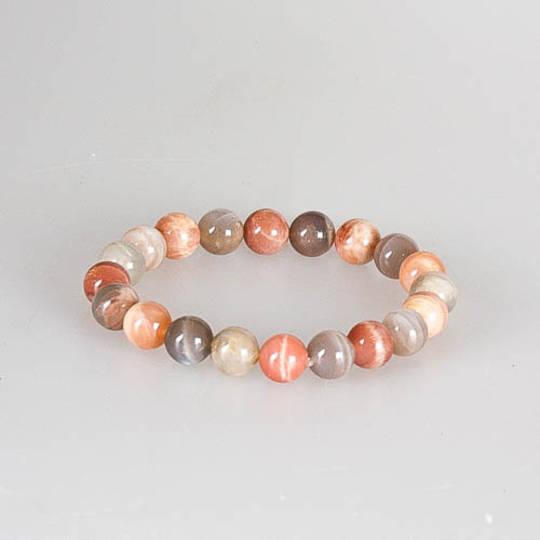 Peach Moonstone Round Bead Bracelet