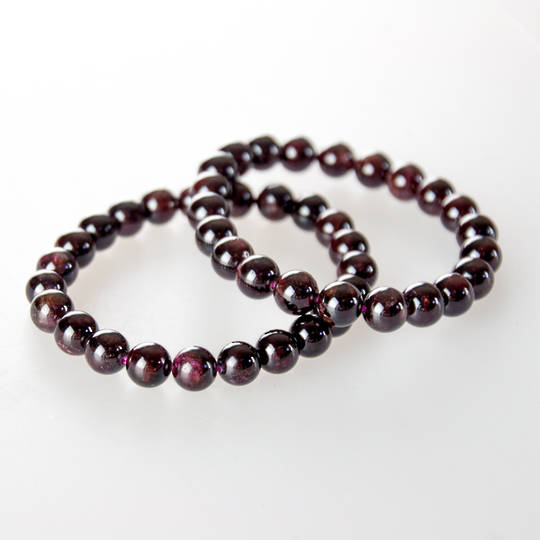 Garnet Round Bead Bracelet 10mm