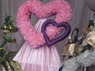 Pink Rose Petal Heart with Purple Heart