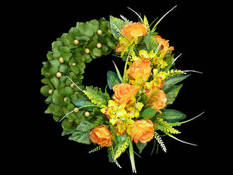 Yellow Rose & Orchid Wreath