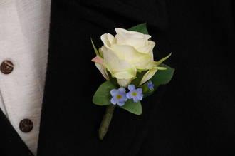 Single White Rose & Blue Boutonniere