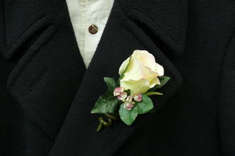 White Rose with Pink Blush Boutonniere