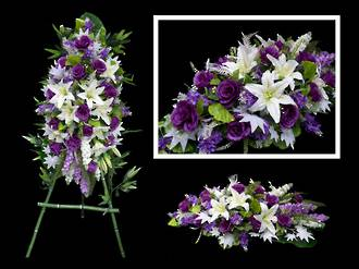 Purple & White Tribute on Stand