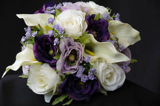 Cream Calla Lilies, White Roses, Purple & Lavender Bouquet
