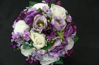 White Roses, Purple, Lavender & Lilac Bouquet