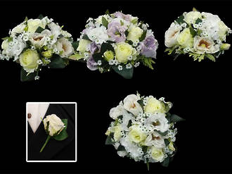 Mauve & White Rose Bridal Posy Bouquet set