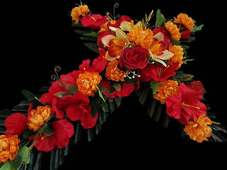 Red & Orange Floral Cross