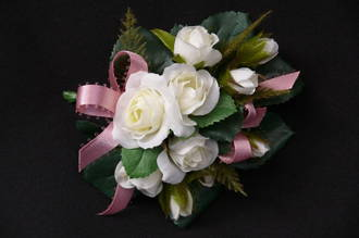 White mini Roses & Pink Satin Ribbon Corsage
