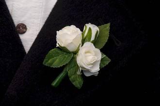 White Mini Rose Bud Boutonniere