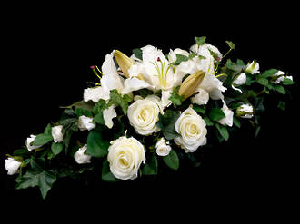 White Roses and White Casablanca Lily