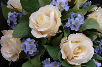 White Rose with Blue Forget-me-not Trailing Bouquet