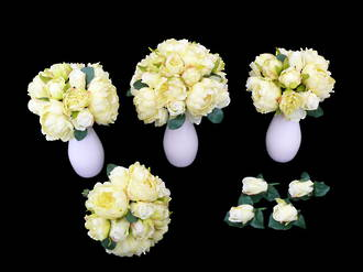 Pale Yellow Peony & White Roses Bridal set