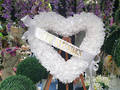 White Heart Wreath with Stand