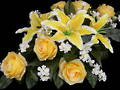 Yellow Roses, Lilies and White Larkspur