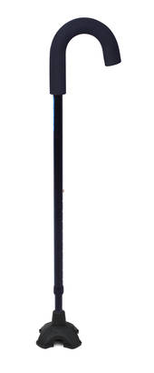 Mobilis Crook Handle Walking Stick ( Black Colour ) with Free Standing Stability Foot