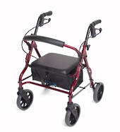"""Mobilis Quad Low Seat Walking Frame - Red with 8"""" Wheels"""