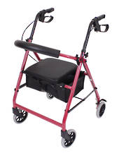 "6"" Movere Economy Walking Frame, Wine Red Colour, Front Castors - Rear Wheels"