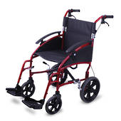 "Traveller Transit Wheelchair 46 cm with 12"" Rear Wheels and Quick Release Foldable Backrest"